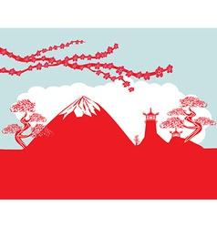 card with Asian buildings and Mount Fuji Fujiyama vector image