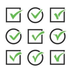 Check mark icon boxes set vector