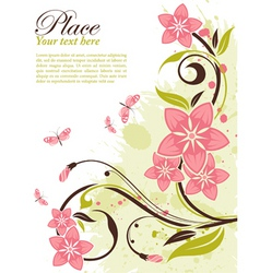 grunge decorative floral frame vector image