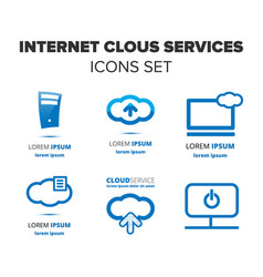 internet cloud services icon set vector image vector image