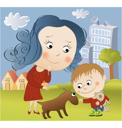 Walking with dog vector image