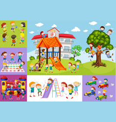 children having fun at school and playground vector image