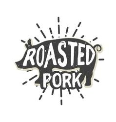 Creative logo design with pork vector image
