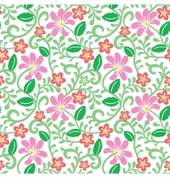 floral seamless pattern with pink flower vector image