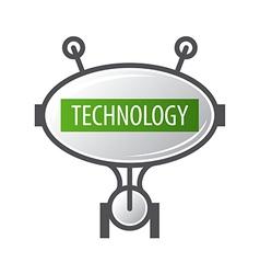 logo robot technology with antennas vector image