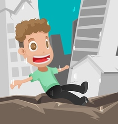 Man Scared Earthquake Disaster Danger vector image vector image