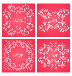 Set floral decorative frame vector image vector image