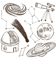 Set of astronomical objects vector image vector image