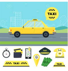 taxi transportation service and tools set vector image vector image