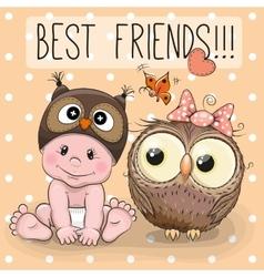 Cute cartoon baby and owl vector image vector image