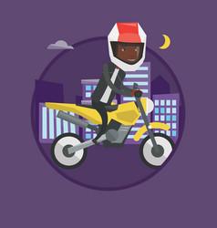 man riding motorcycle at night vector image