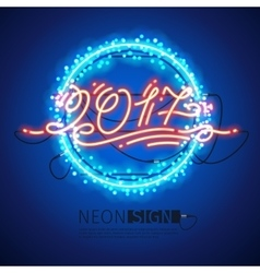 New Year 2017 Neon Sign with Lights vector image vector image