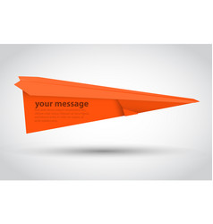 orange paper airplane illsutration vector image vector image