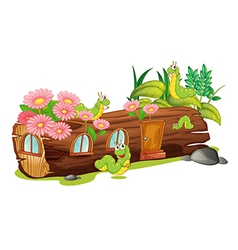Caterpillars and a wood house vector image vector image