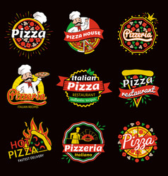italian pizza restaurant promotional emblems set vector image