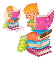 little boy is sitting on a pile of books and vector image