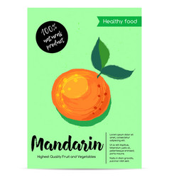 modern healthy food poster with mandarin vector image vector image