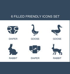 6 friendly icons vector