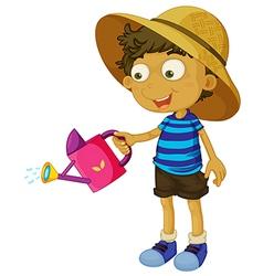 A cute little boy with a sprinkler vector