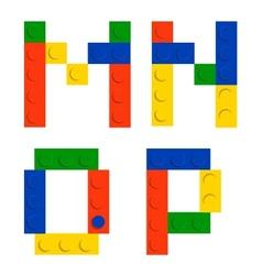 alphabet set made toy construction brick blocks vector image
