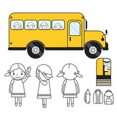 Animation set school bus girl kids bag driver vector