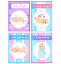 Baby shower children playing with toys stars vector