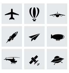 black airplane icon set vector image