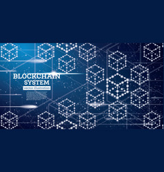 Blockchain neon outline concept on blue background vector