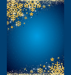 Blue christmas background with frame of gold vector