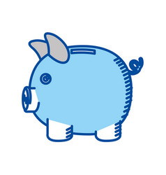 Blue contour of moneybox in shape of pig vector