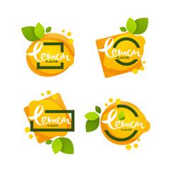 bright sticker emblem and logo for lemon citrus vector image