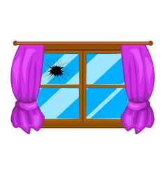 broken window simple design isolated on white vector image