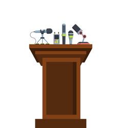 Brown tribune with microphones flat vector