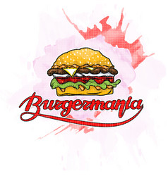 Burger with inscription on abstract watercolor vector