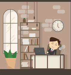 businessman falling asleep at his work business vector image