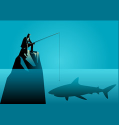 Businessman fishing a shark vector