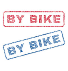 By bike textile stamps vector