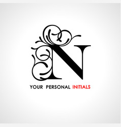 capital letter n decorated with vegetable vector image