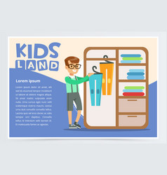Card with boy hangs clothes in the closet kid vector