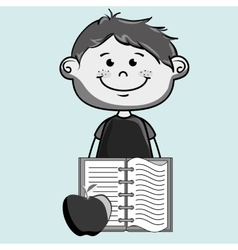 Cartoon boy notebook icon vector