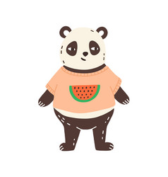 childish character funny panda portrait in t vector image