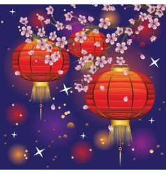 Chinese Lantern with Sakura Branch3 vector