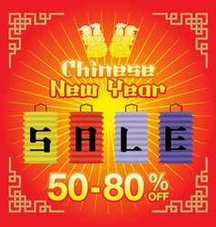 Chinese New Year sale background vector image