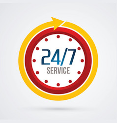 clock 24 hours a day and 7 days service vector image