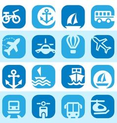 color transportation icons set vector image