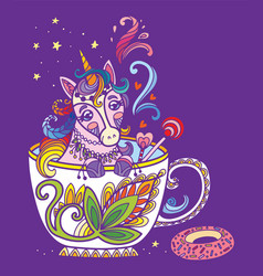 Colorful kawaii cute unicorn in a cup vector