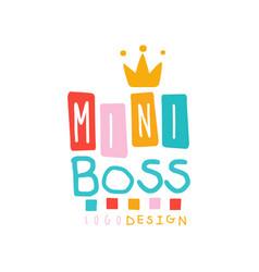Creative bamini boss logo design with lettering vector