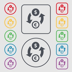 Currency exchange icon sign symbol on the Round vector image