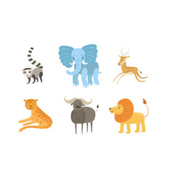 cute african animals set raccoon elephant vector image