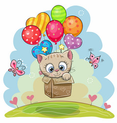 Cute cartoon kitten with balloons vector